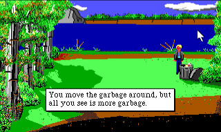 "Sonny stands by a trash can near the river. Game text reads: ""You move the garbage around, but all you see is more garbage."" There is a pool of blood by the river in the background."