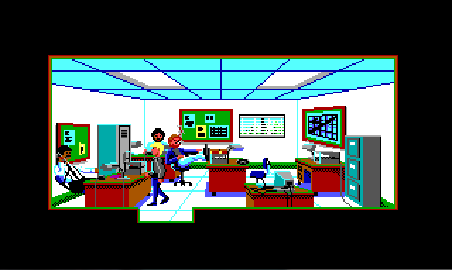 View of the narcotics office at the police station. Sonny, a blonde white man in a black jacket, stands in front of Captain Hall's desk. Captain Hall is a black man with a mustache. There are desks scattered around, a bulletin board on the back wall, and a map on the right-hand wall. In the background is Keith, a brown-haired white man with a mustache. Keith has his feet on his desk and is smoking a cigarette.