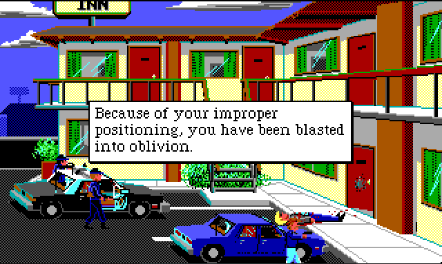 """The exterior of a small two-story motel. Room doors face the parking lot. Sonny is lying in front of one of the ground-floor doors, bleeding. Sonny's car and a cop car are parked out front. Two cops in S.W.A.T. gear stand next to the cop car with guns out. Keith stands next to Sonny's car. Game text reads: """"Because of your improper positioning, you have been blasted into oblivion."""""""