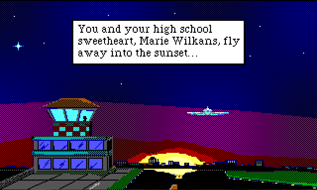 "Long view of airport runway with the sun setting in the background. A plane flies away into the distance. Game text reads: ""You and your high school sweetheart, Marie Wilkans, fly away into the sunset..."""