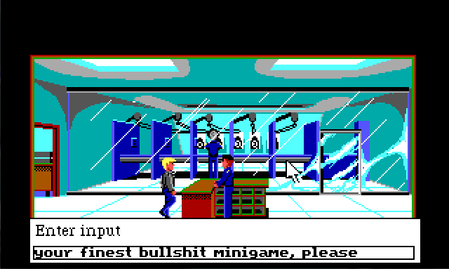 "Sonny stands by a counter in front of a shooting range behind a large glass wall. There are five booths visible in the shooting range, one of which has a cop standing at it. There is a man in uniform behind the counter. Input text reads: ""your finest bullshit minigame, please""."