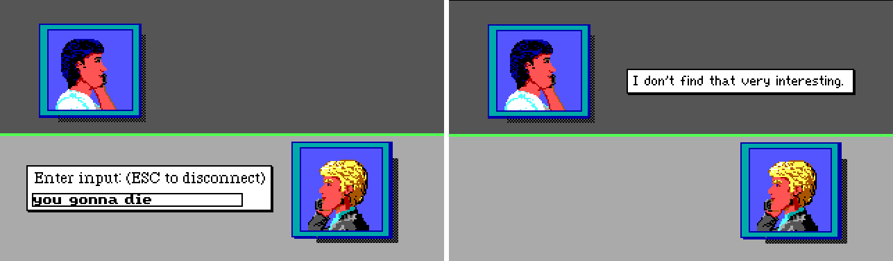 """Two side-by-side screenshots of the phone conversation view. The background is gray and divided into top and bottom halves. The top half shows a dark-haired white man with a phone in an inset image. The bottom half shows Sonny with a phone. In the first image, an input box by Sonny reads, """"you gonna die"""". In the second image, a caption by the other man reads, """"I don't find that very interesting."""""""