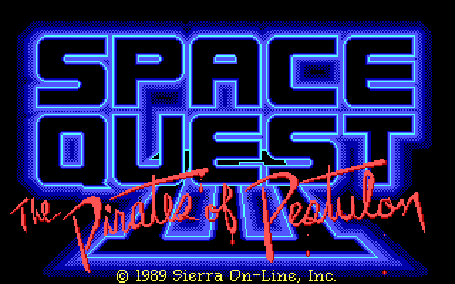 "Title screen that reads ""Space Quest III"" in a blocky, glowing blue font with ""The Pirates of Pestulon"" seemingly scrawled across the bottom in dripping pink paint. Fine print below reads ""1989 Sierra On-Line, Inc."""