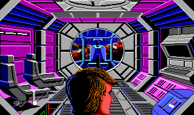 Close shot from behind Roger's head of a small spaceship interior. At the far end is a windowed cockpit with a single chair, facing a wall of garbage outside. The walls are pink and blue and lined with chunky gray bulkheads. Two passenger sits are lined up against the left wall, and a large computer is against the right wall.
