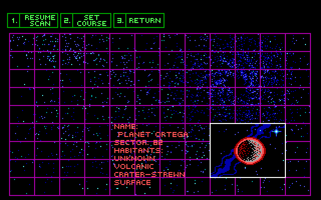 "A different view of the flight computer. This has three green buttons on the top labeled ""RESUME SCAN,"" ""SET COURSE,"" and ""RETURN."" Below is a purple grid overlaying a star map. In the lower right corner is an enlarged grid cell with a red and black planet in the center. Next to it is informational text reading: ""Name: Planet Ortega. Sector: 82. Habitants: Unknown. Volcanic crater-strewn surface."""
