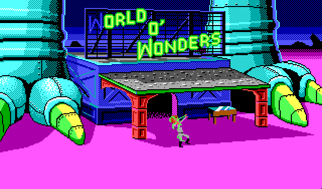"The front of a boxy blue store with a wide awning out in front of it. Two huge teal dinosaur feet with green talons rise on either side of it. A green neon sign over the store reads ""World O' Wonders,"" and the light on the first ""W"" is out. Roger is in front of the store, apparently struggling with a stringy green creature that is wrapped around his face and arms."