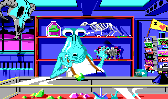 The shop interior. The blue walls are a little worn-looking and crowded with odd objects on shelves. In front is an alien merchant with huge eyes, teal skin, five o clock shadow, and suspenders, sitting behind a large glass counter with some scattered gemstones of different colors in it. A large green gem is on the counter, and the merchant stares at it in astonishment with his mouth in an O shape. Items around the shop include: a rotating display of colorful postcards, a large cow-like skull with curved horns, a cat skeleton, a green creature in a jar, and a row of gray and purple robot toys.