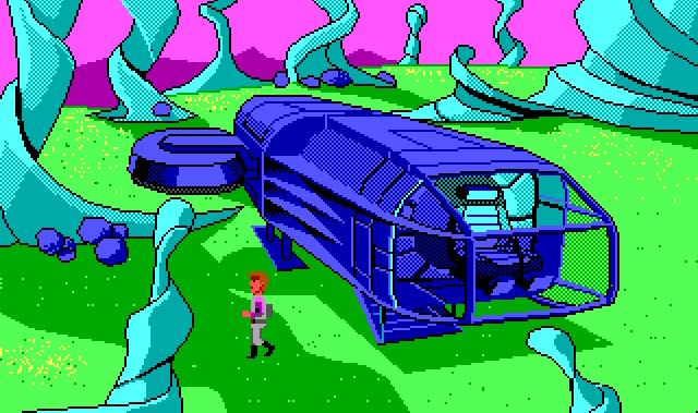 Roger stands next to his spaceship on another planet. This one has a purple sky and green surface dotted with yellow grass or moss. Large teal spirals rise out of the ground, like strange trees or giant fungi. Rogers ship looks deep blue instead of its normal teal.