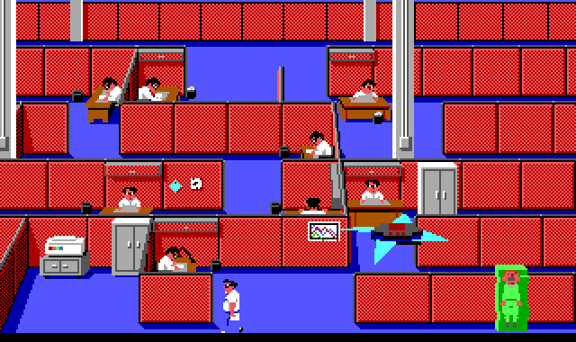 A long view of a maze made out of red cubical walls. Scattered around the maze are desks with identical dark-haired white guys with glasses working at them. Next to each desk is a small black wastebasket. Roger is in the lower right corner, encased in a block of green jello. A spiky disc-shaped drone hovers above him.