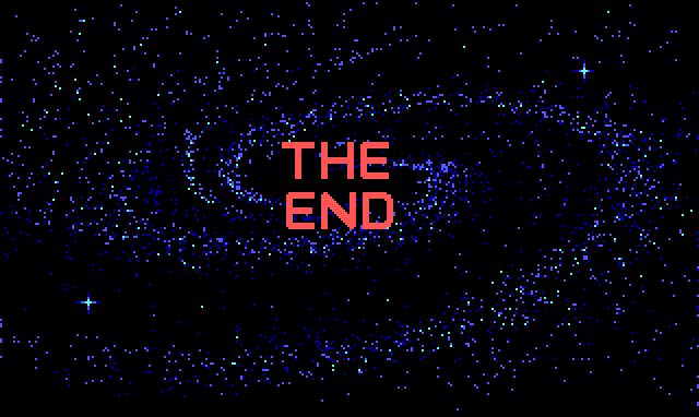 "A pink title reading ""THE END"" over a sparkly spiral galaxy."