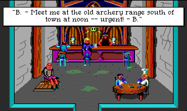 "Hamburger Tree sits at a gross-looking bar, holding a beer stein. Two men play cards at a table, and a scowling bald man sits on a chair over an obvious trapdoor. Game text: ""B. - Meet me at the old archery range south of town at noon -- urgent! - B."""