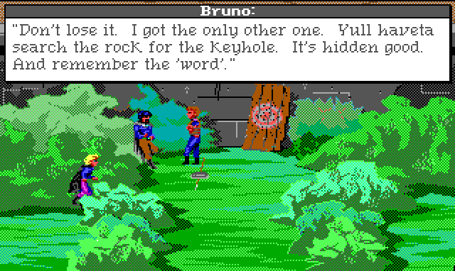 "Two men talk at the archery range, which is a board with a target leaning up against a wall. Bushes line it on either side, and Hamburger Tree crouches behind some of them. Game text: ""Bruno: 'Don't lose it. I got the only other one. You'll have to search the rock for the keyhole. It's hidden good. And remember the word.'"""