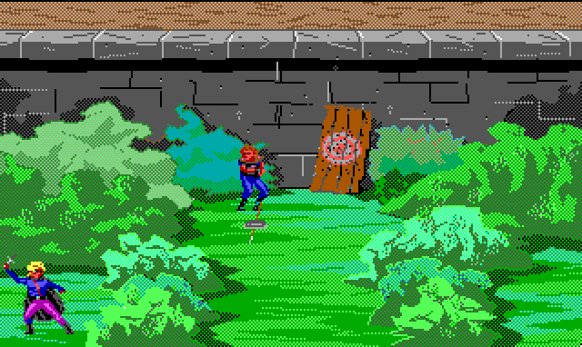Archery range. One of the bandits and Hamburger Tree are facing off from either side of the bushes. Both are mid-throw.