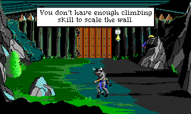 "Game text: ""You don't have enough climbing skill to scale the wall."" An imposing gated wall at nighttime, guarded by a minotaur. Hamburger Tree is crouched on one side of the wall."