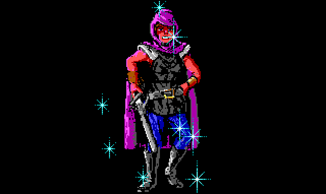 A close-up of Elsa, the bandit queen, wearing leather armor, a purple cloak, and a sword at her hip. She is covered in the same blue sparkles as the bear from earlier.