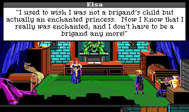"A fancy office. Chests and treasures are piled against the wall, and a roaring green dragon statue stands behind an imposing desk. Elsa is now in princess clothes, talking to Hamburger Tree. Game text: ""Elsa: 'I used to wish I was not a brigand's child but actually an enchanted princess. Now I know that I really was enchanted, and I don't have to be a brigand any more!'"""