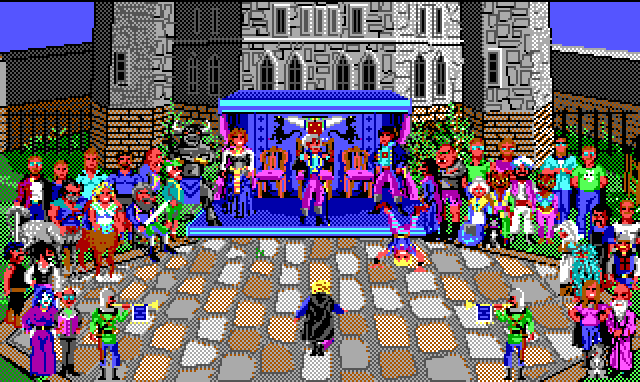 Hamburger Tree is being celebrated in the castle courtyard. All the characters previously seen in the game are crowded around. The Baron and his children stand in a blue pavilion in the middle, while Hamburger Tree bows to them.