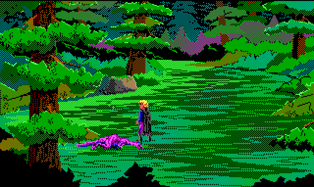 Hamburger Tree stands next to a dead creature in a forest. It looks like a small purple dinosaur.