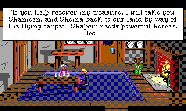 """Interior of the common room of an inn. There is a simple table in the middle and a roaring fire. A catgirl sits next to the fire, licked her paw. Hamburger Tree sits at the table with a bearded man in a turban. Game text: """"If you help recover my treasure, I will take you, Shameen, and Shema back to our land by way of the flying carpet. Shapeir needs powerful heroes, too!"""""""