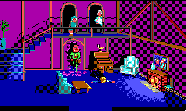 Interior of a nice looking home, lit by a fireplace. A staircase leads up to two doors on a second level. An elderly couple has emerged from the doors and are staring down at Hamburger Tree, who lies face-down and dazed on the floor. Behind him, a man in green pajamas has burst through a first-story door like he's the Kool-Aid Man. It's unclear what has happened.