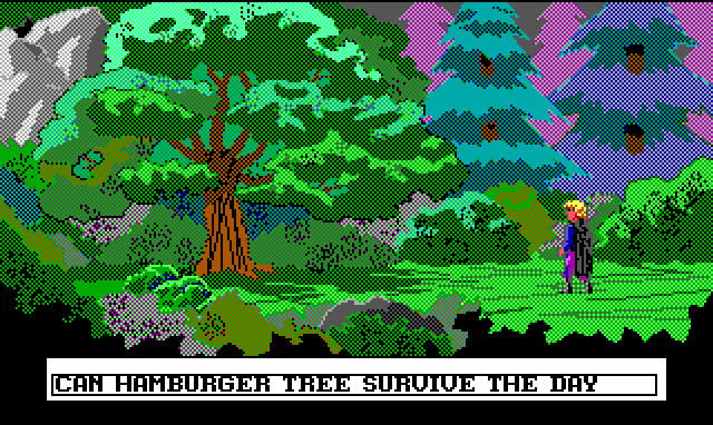 "The same tree, but it's now daytime and Hamburger Tree is standing. Input text: ""Can Hamburger Tree survive the day?"""
