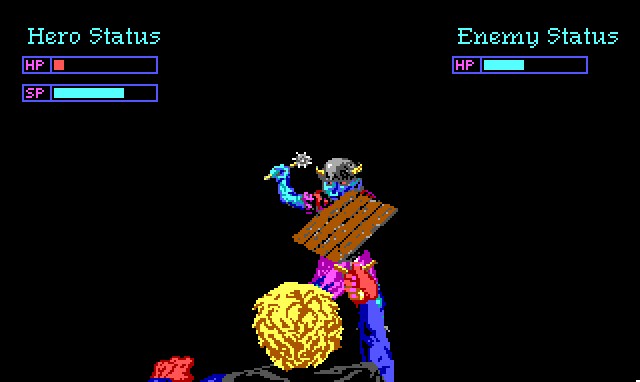 Fight screen. We see the back of Hamburger Tree's head as he stabs at a goblin. Health and status bars at the top show that the goblin is hurt, but Hamburger Tree is nearly dead.