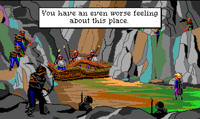 "Hamburger Tree stands in a mountain passage blocked by a large fallen tree and several brigands carrying spears and shields. There are also archers lining both sides of the road. Game text: ""You have an even worse feeling about this place."""