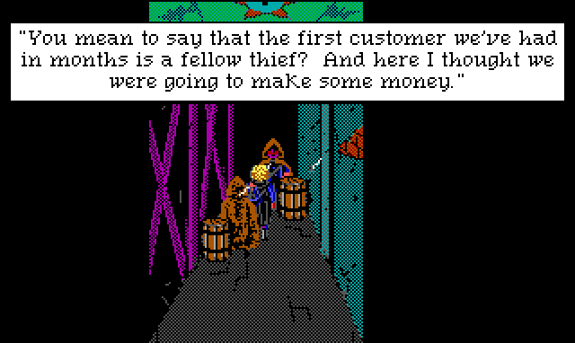 "Two cloaked figures surround Hamburger Tree in a dark alleyway. Game text: ""You mean to say that the first customer we've had in months is a fellow thief? And here I thought we were going to make some money."""