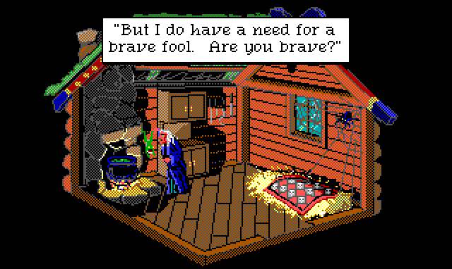 "Inside a spooky hut. A white-haired witch in blue robes stands by a bubbling cauldron. A small frog is bouncing frantically in front of her. Game text: ""But I do have a need for a brave fool. Are you brave?"""