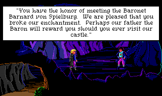 "Hamburger Tree faces a fancy-dressed young man in a dank cave. Game text: ""You have the honor of meeting the Baronet Barnard von Spielburg. We are pleased that you broke our enchantment. Perhaps our father the Baron will reward you should you ever visit our castle."""