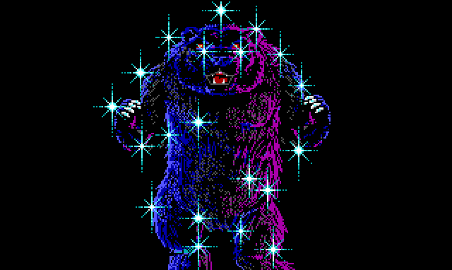 Close-up of a huge bear, lit in purple and blue, covered with shiny blue sparkles.