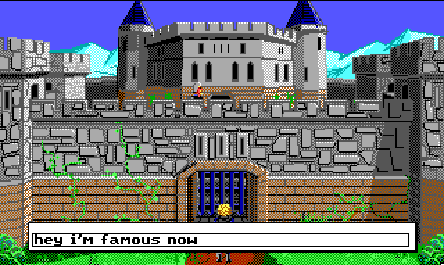 "Hamburger Tree stands before an imposing castle wall with a guard stationed on top. Input text: ""hey I'm famous now"""