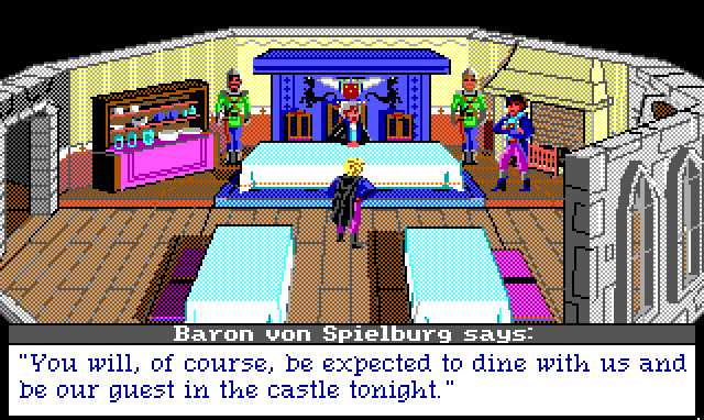 "A very fancy man sits on a dais in a fancy banquet hall, flanked by guards. The Baronet stands nearby, and Hamburger Tree stands beneath the dais, bowing. Game text: ""Baron von Spielburg says: 'You will, of course, be expected to dine with us and be our guest in the castle tonight.'"""
