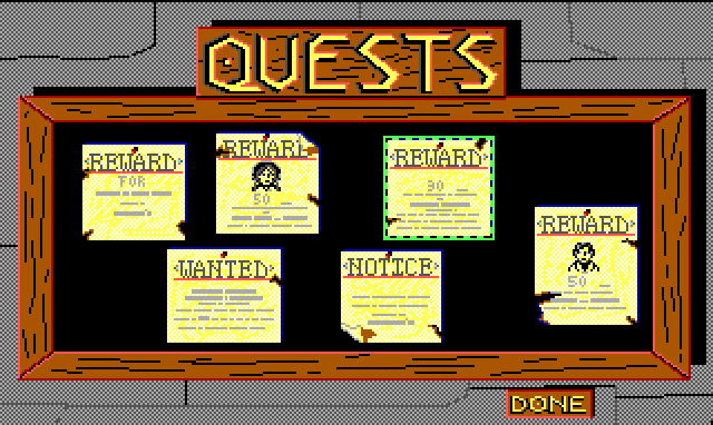 "A bulletin board labelled ""QUESTS"" hangs on a stone wall. Six notices hang on the board, reading ""REWARD"" or ""WANTED."""