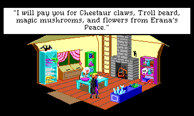 "Interior of a small hut. A woman in peasant clothes works at a table and Hamburger Tree stands across from her. Crowded shelves line the room. Game text: ""I will pay you for Cheetaur claws, Troll beard, magic mushroom, and flowers from Erana's Peace."""