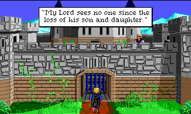 "Hamburger Tree stands in front of an imposing castle wall. A guard stands at the top. Game text: ""My Lord sees no one since the loss of his son and daughter."""