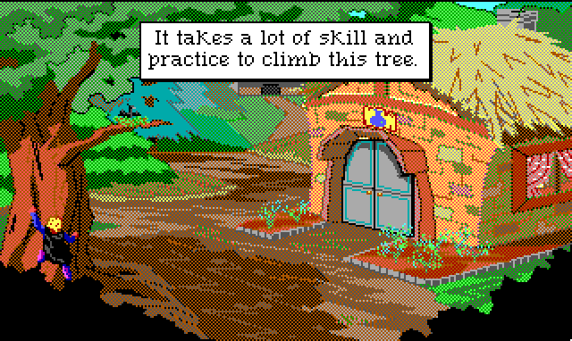 "Hamburger Tree is flailing around at the base of a tree next to a thatched-roof cottage. Game text: ""It takes a lot of skill and practice to climb this tree."""