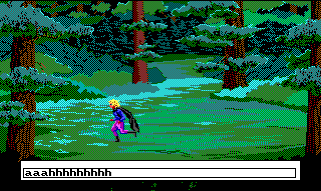 "A character in blue shirt, purple pants, and a black cloak runs through a forest. Input text: ""aaahhhhh"""