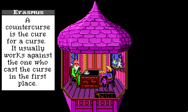 "Hamburger Tree sits in a small, garishly pink tower room with a bearded wizard in a long green robe. A cartoon mouse in a wizard hat sits on a windowsill nearby. Game text: ""Erasmus: 'A countercurse is the cure for a curse. It usually works against the one who cast the curse in the first place.'"""