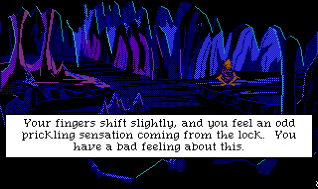 "Interior of a dark, creepy cave. A gnome-like creature sits cross-legged on one side. Game text: ""Your fingers shift slightly, and you feel an odd prickling sensation coming from the lock. You have a bad feeling about this."""